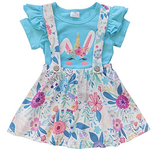 (So Sydney Suspender & Skirt 2 Piece Outfit, Girls Toddler Spring Easter Holiday Dress Up Boutique Outfit Clothes (5 (L), Unicorn Bunny)