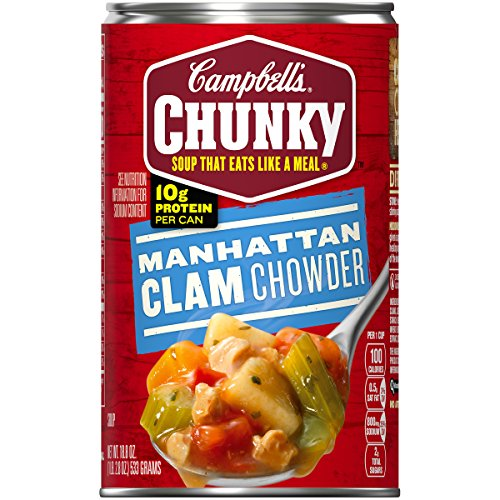 Campbell's Chunky Manhattan Clam Chowder, 18.8 oz. Can (Pack of 12) - Pea Serving Spoon