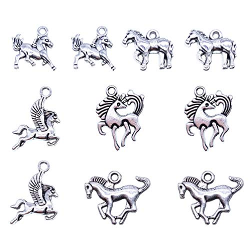 Horse Charms Pendants - zhangdongDIY 50 pcs Horse Charm Pendants Jewelry Vintage Silver Horse Pendant Girls Gift DIY