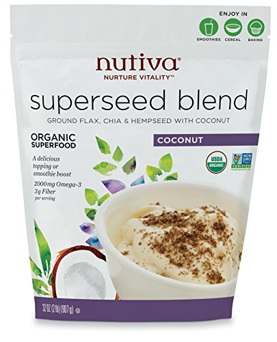 Nutiva Organic, non-GMO, Sustainably Farmed Chia, Flax, and Hemp Superseed Blend, 32-Ounces by Nutiva