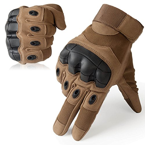 JIUSY Military Rubber Hard Knuckle Tactical Gloves Full Finger Airsoft Paintball Outdoor Army Gear Sports Cycling Motorcycle Riding Shooting Hunting Size X-Large Brown