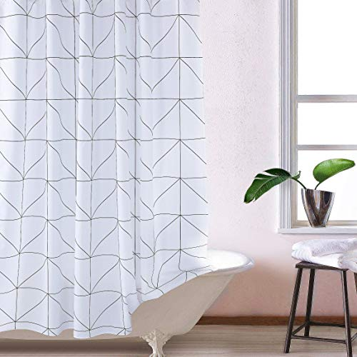 White Gray Long Fabric Shower Curtain Liner Mildew Resistant for Bathroom 72 x 72 (White Triangles)