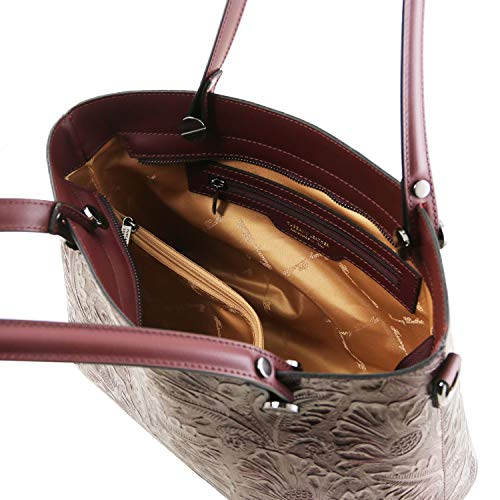 en Motif Cuir Grey avec Atena Bordeaux Floral Sac Shopping Tuscany Leather 7FHwqIH