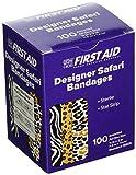 American White Cross 15605 Designer Adhesive Bandages, Sterile, Designer Safari, 3 per 4'' x 3'', 100 per Box, 12 Box per Case (Pack of 1200)