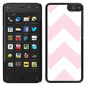 EJOY---Cubierta de la caja de protección para la piel dura ** Amazon Fire Phone ** --Líneas rosadas Modelo blanco