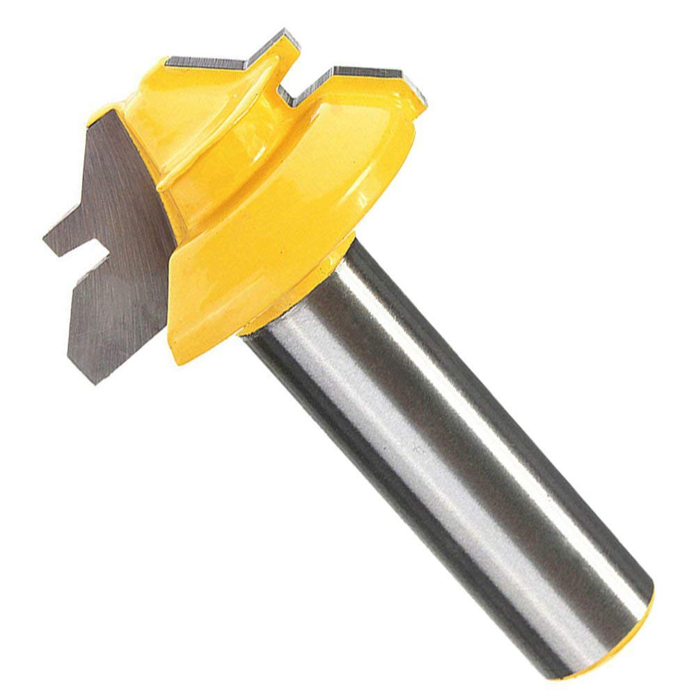 Lock Miter Router Bit, Dayree 1/2 Inch Carbon Steel Shank 45 Degree Joint Router Bit 2'' Diameter Woodworking Drilling Power Cutter Tools