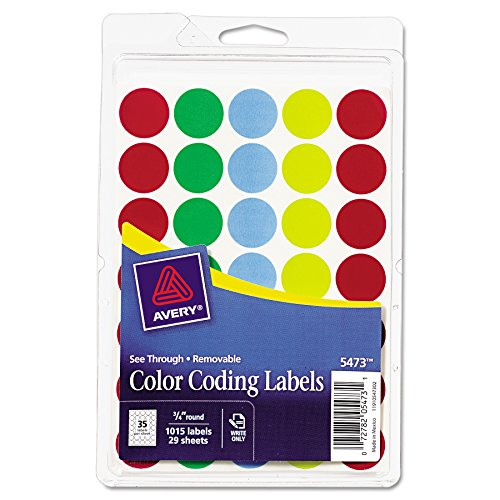 Avery See-Through Removable Color Dots, 0.75-Inch Diameter, Assorted Colors, 1015 per Pack (05473) ()