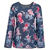 Youngh New Womens Blouses Plus Size Lace Floral Print Loose Long Sleeve Fashion Casual Blouse Tops T-Shirt