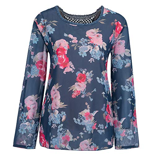 Youngh New Womens Blouses Plus Size Lace Floral Print Loose Long Sleeve Fashion Casual Blouse Tops T-Shirt by Youngh Top