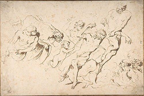 """Fantastic Subject Five Nude Male Figures Punishing Another Poster Print by Giovanni Benedetto Castiglione (Il Grechetto) (Italian Genoa 1609 """"1664 Mantua) (18 x 24)"""
