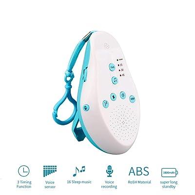 Kanbaby Bebés Máquina de Ruido Blanco,Sonidos Naturaleza,Máquina de Temporizador Sueñopara Recién Nacidos, 3 Temporizador,Voz Controlar,30s Sonar Grabación,Fácil de Llevar: Hogar