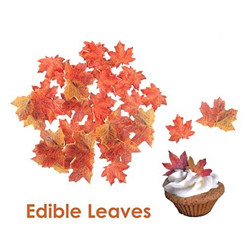 - GEORLD Set of 36 Edible Fall Leaves Gold Leaf Cake Decorations, Party Cupcake Topper