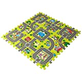 feet'sbook Eva Foam Traffic Gym Exercise Baby Kids Play Floor Mat,Interlocking Squares Puzzle Tiles,,Waterproof,Reduces Noise,Non-Slip,Easy Install & Clean,Soft,Light