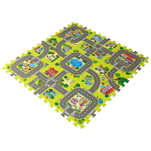 feet'sbook Eva Foam Traffic Gym Exercise Baby Kids Play Floor Mat,Interlocking Squares Puzzle Tiles,,Waterproof,Reduces Noise,Non-Slip,Easy Install & Clean,Soft,Light by feet'sbook