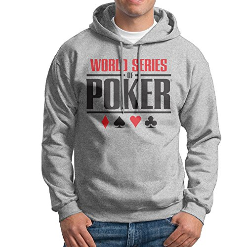 Mens Ash Long Sleeve Pullover Hoodie World Series Of Poker Logo Sweatshirt