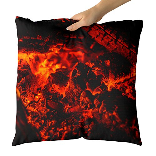 Westlake Art - Fireplace Ember - Decorative Throw Pillow Cushion - Picture Photography Artwork Home Decor Living Room - 18x18 Inch (201F-E1143) by Westlake Art