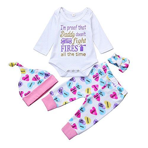 Hot Sale!!Baby Girl Boys Letter Romper Clothes Set,4PCs 0-24M Newborn Infant Tops+Floral Pants Hat Outfits (White B, 6M) for cheap