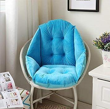 HBYE 40cm Coussin de Chaise Coquille Velours Douillet élastique Imperméable  Fauteuil Chaise Paille Jardin Bleu