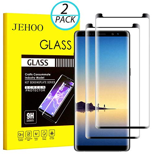 JEHOO Galaxy Note 8 Screen Protector, [2-Pack] Updated Version Tempered Glass Screen Protector [9H Hardness][Anti-Scratch][Anti-Bubble][3D Curved] [High Definition] for Samsung Galaxy Note 8