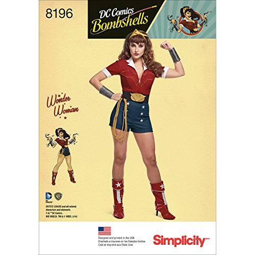 Simplicity 8196 DC Comics Women's Bombshell Wonder Women Halloween and Cosplay Costume Sewing Pattern, Sizes 14-22 -