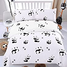 Hxiang 3pcs twin Size Full/queen SizeMicrofiber Duvet Cover Set, White and Black Panda Animal Patterns Design Prints,Without Comforter (White, Twin)