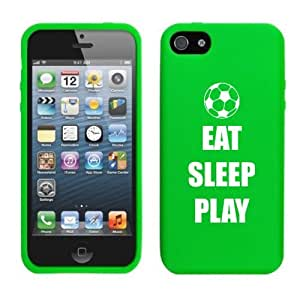 Apple iPhone 5 5s Silicone Soft Rubber Skin Case Cover Eat Sleep Play Soccer (Green)