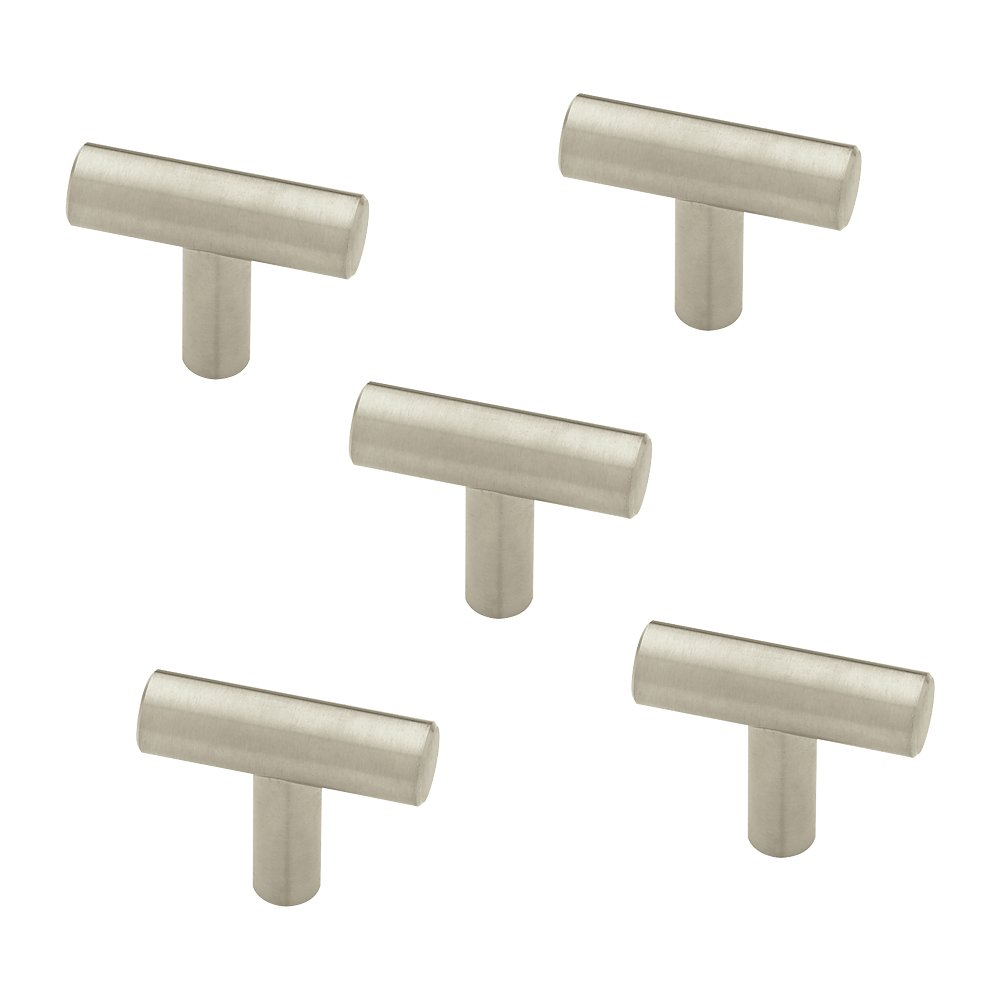 Franklin Brass 3250679-SS-KT Steel Bar Kitchen Cabinet Hardware Knob, 1-5/8'', 5 Pack, Stainless Steel