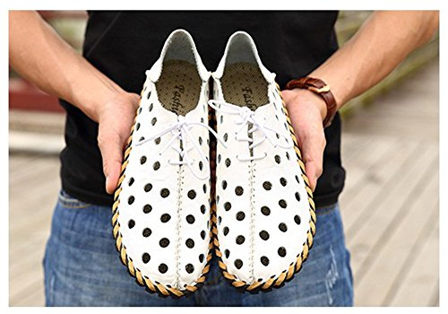Lazy Shoes Hollow Casual Shoes New White Men's 2018 Leather Shoes Men's Driving Shoes WFAfwZn