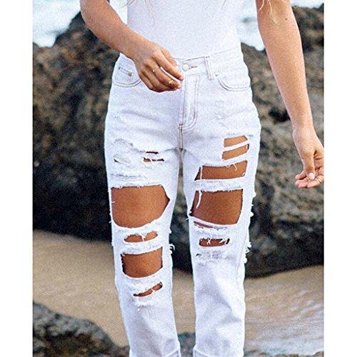 Loisirs Blanc Jeans pour Dchirs Homyl Pantalons Activits Femme de B1xwT6qgw