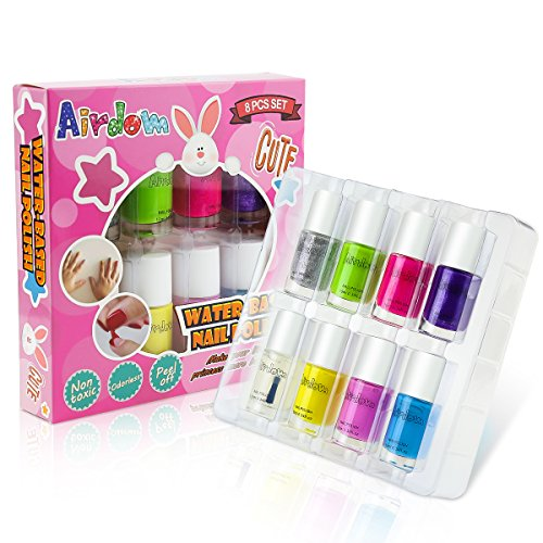 Airdom Non Toxic Kids Nail Polish Water Based Natural Odorless Safe Peel Off Nail Polish Set Quick Dry Nail Polish Gifts Toys Kit for Girls Kid Including 7 Bright Colors and 1 Top Coat