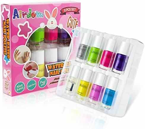 Airdom Non Toxic Kids Nail Polish Water Based Natural Odorless Safe Peel Off Nail Polish Set Quick Dry Nail Polish Gifts Toys Kit for Girls Kid Including 7 Bright Colors and 1 Top Coat