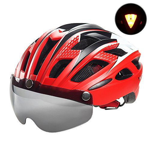 VICTGOAL Bike Helmet for Men Women with Safety Led Back Light Detachable Magnetic Goggles Visor Mountain & Road Bicycle Helmets Adjustable Adult Cycling Helmets (New Red)