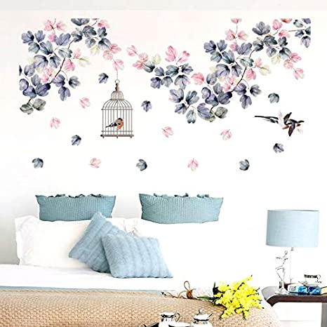 QTTZWZQ Flores Pegatinas de Pared decoración de la Cama Jaula para ...