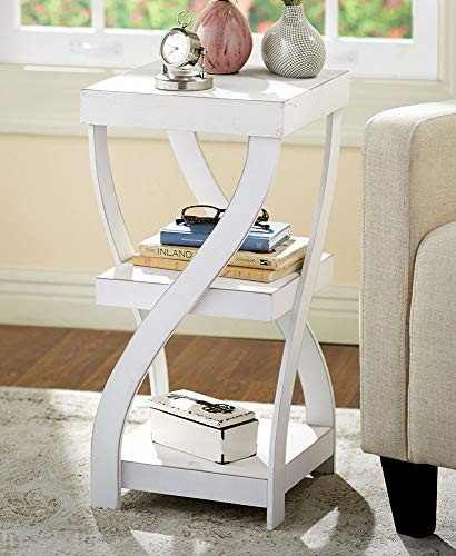 - The Lakeside Collection Antique Finish Twisted Side Table - Distressed White