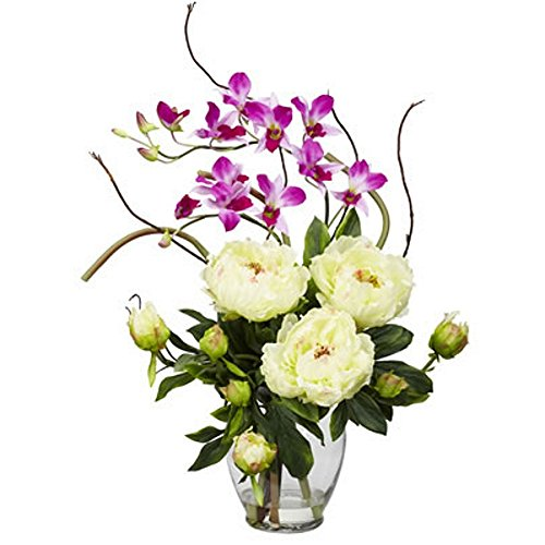 White Peony With Purple Orchid Silk Flower Arrangement