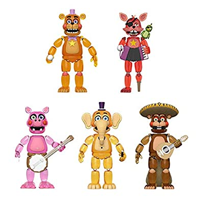 Funko Action Figures Bundle of 5: Glow-in-The-Dark Five Nights at Freddy's Pizza Simulator - Rockstar Freddy, Rockstar Foxy, Pigpatch, Orville Elephant and El Chip: Toys & Games