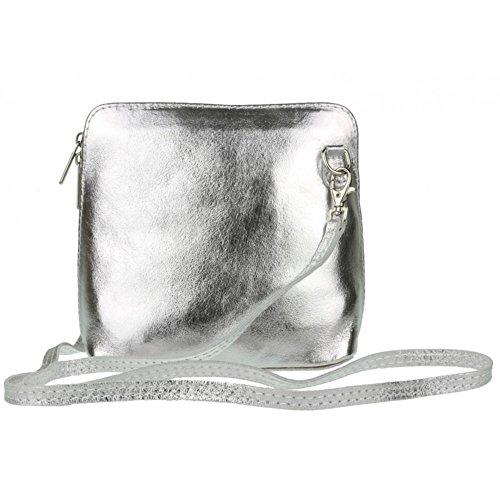 Genuine Italian Leather Vera Pelle Mini Cross Body Bag or Shoulder Bag Silver