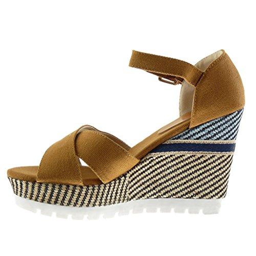 Angkorly - Chaussure Mode Sandale Mule plateforme Mary Jane semelle basket femme tréssé brodé lanière Talon compensé plateforme 10.5 CM - Camel