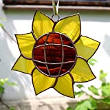Stained Glass Yellow Sunflower Suncatcher for Window Hanging, Wall Decor or Flower Garden Decoration