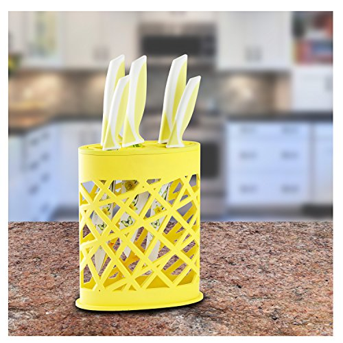 Chef's Star 6 Piece Kitchen Knife Stainless Steel Blade, Yellow / White Coating.