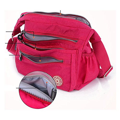 Women Casual Nylon Howoo Girls green Handbag purple Travel Messenger Purse for light Crossbody Multi Pockets Bag mint Shoulder Bag OxxRrdw
