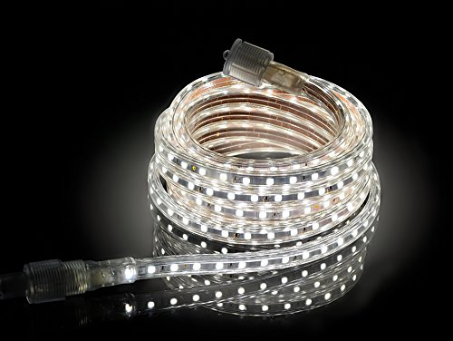 CBconcept UL Listed, 50 Feet, Super Bright 13500 Lumen, 4000K Soft White, Dimmable, 110-120V AC Flexible Flat LED Strip Rope Light, 930 Units 5050 SMD LEDs, Indoor/Outdoor Use, [Ready to use] by CBconcept (Image #2)