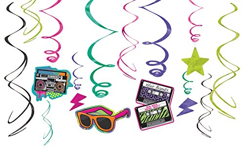 Amscan 670152 Awesome 80's Party Swirl Decorating Kit, Foil (12 Pack), Multi Color; Assorted Sizes -