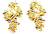 Mens 10k Yellow Gold Nugget Earrings With CZ