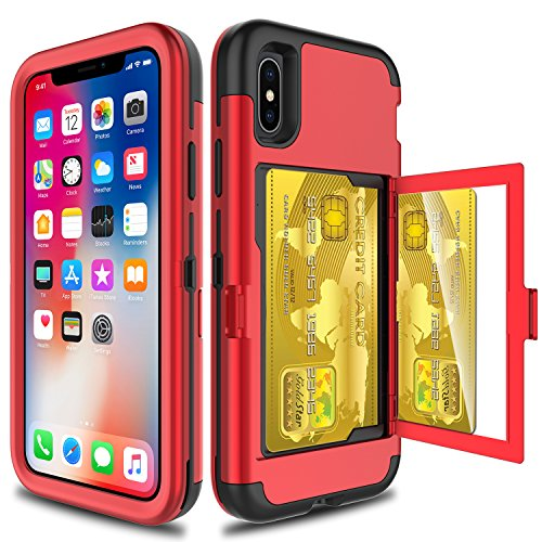 Elegant Choise Compatible with iPhone Xs Case, iPhone X Case, Wallet Case Hidden Back Mirror 3 in 1 Heavy Duty Shockproof Armor Defender Protective Case Cover Card Slot Holder(Red)