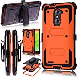 KooJoee Orange Armor Defender Case Compatible with ZTE Z MAX Pro Z981/Grand X Max 2/Imperial Max Z963U,Shockproof[Kickstand][Swivel Belt Clip] Full Body Holster Case with Built-in Screen Protector