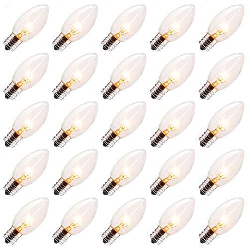 Brightown 25 Pack C9 Incandescent Bulb, C9 Replacement Bulb for Christmas String Light, E17 Intermediate Base, 7 Watt, Clear