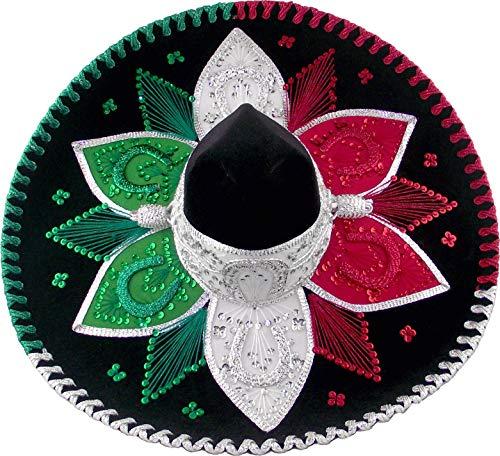 MoreFiesta Mexican Adult Mariachi Sombrero Hat (Black/Tricolor)