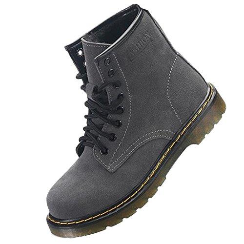 Velvet Gray Up Holes Shoes Lace Student 8 Flat Women Round Heel Style Boots Martin Toe CBwO6ttq