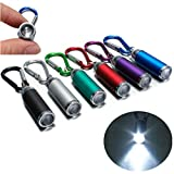 CAMTOA Mini LED Keychain Flashlight, Mini Pocket EDC Convex Mirror Light Torch Keyring,Zoom Adjustable Focus Battery Included Red